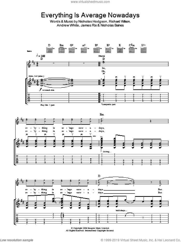 Everything Is Average Nowadays sheet music for guitar (tablature) by Kaiser Chiefs. Score Image Preview.