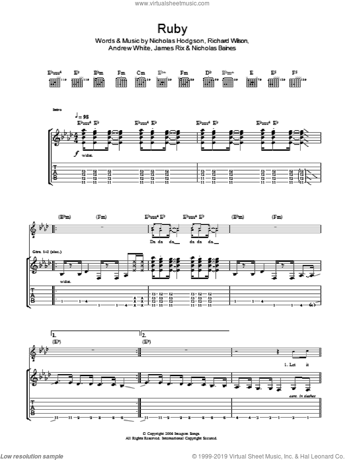 Ruby sheet music for guitar (tablature) by Kaiser Chiefs. Score Image Preview.