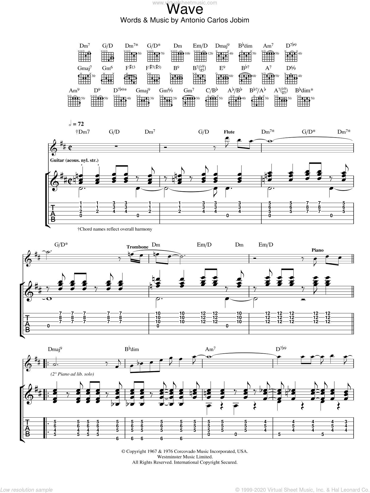 Wave sheet music for guitar (tablature) by Antonio Carlos Jobim. Score Image Preview.