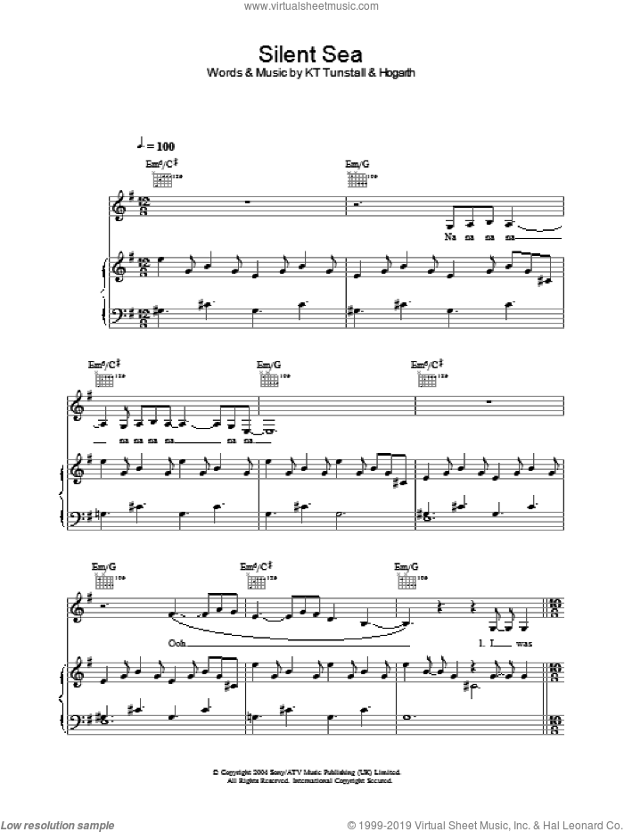 Silent Sea sheet music for voice, piano or guitar by KT Tunstall. Score Image Preview.