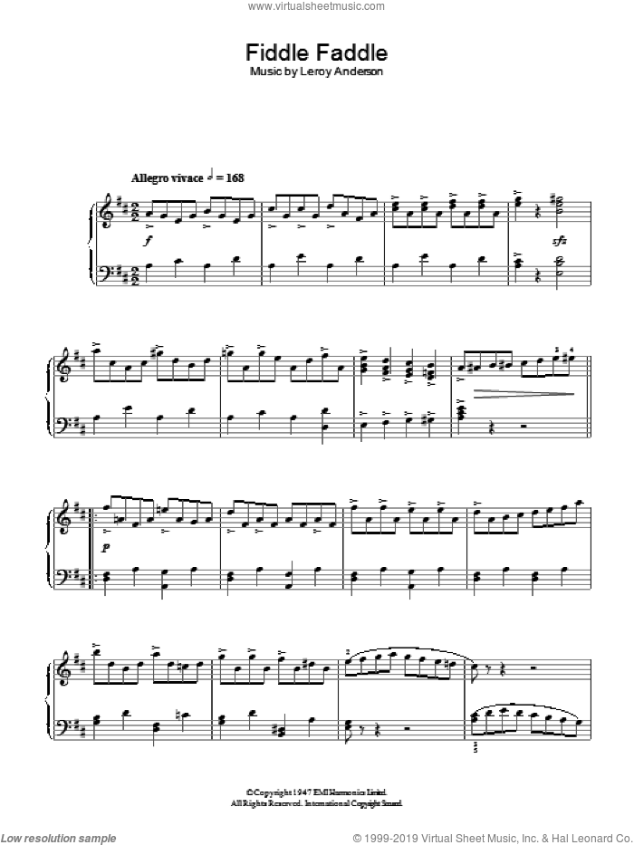 Fiddle Faddle sheet music for piano solo by Leroy Anderson, intermediate skill level