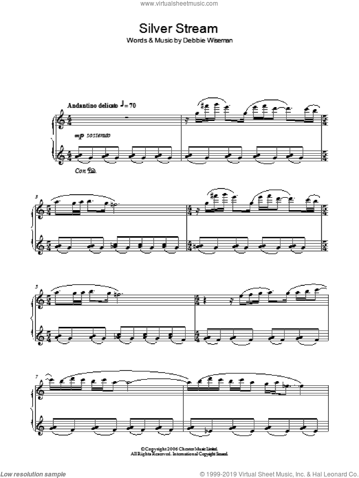 Silver Stream sheet music for piano solo by Debbie Wiseman, intermediate