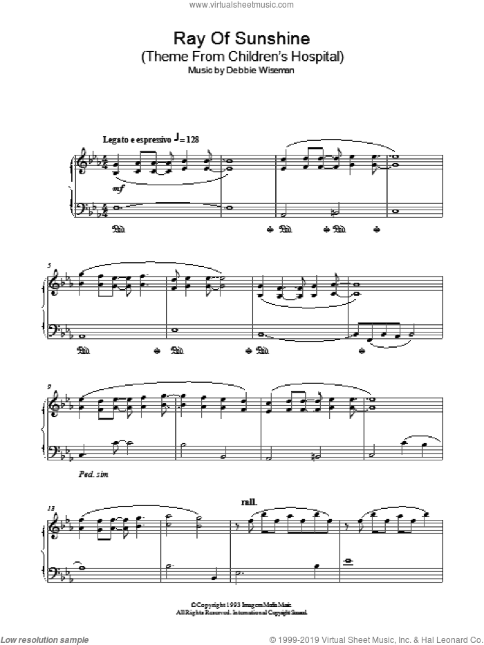 Ray Of Sunshine (Theme From Children's Hospital) sheet music for piano solo by Debbie Wiseman, intermediate skill level