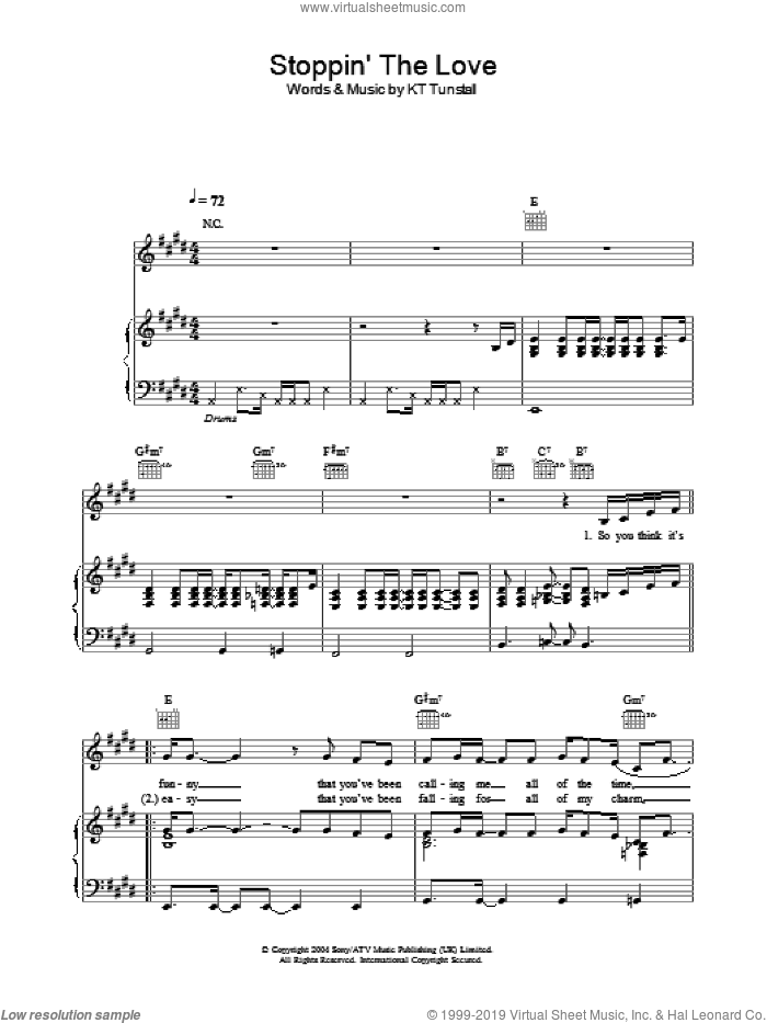 Stoppin' The Love sheet music for voice, piano or guitar by KT Tunstall. Score Image Preview.