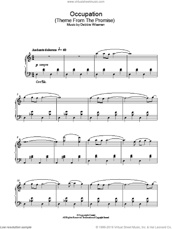 Occupation (Theme From The Promise) sheet music for piano solo by Debbie Wiseman. Score Image Preview.
