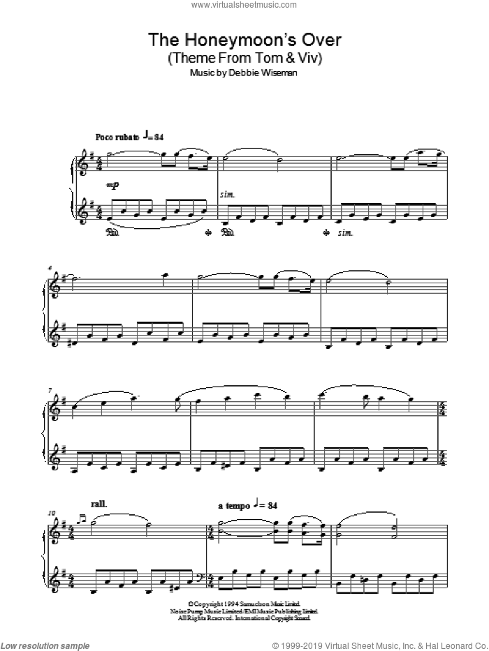 The Honeymoon's Over (Theme From Tom and Viv) sheet music for piano solo by Debbie Wiseman, intermediate