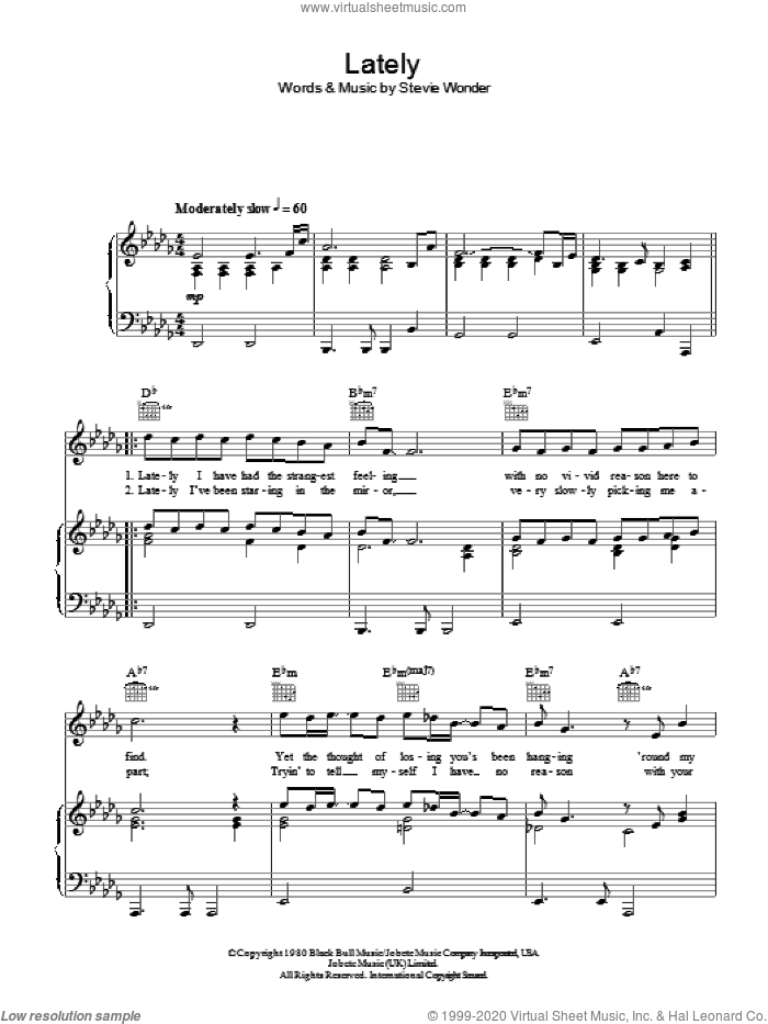 Lately sheet music for voice, piano or guitar by Stevie Wonder, intermediate. Score Image Preview.
