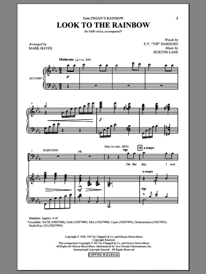 Look To The Rainbow sheet music for choir (SAB) by E.Y. Harburg, Burton Lane and Mark Hayes, intermediate choir (SAB). Score Image Preview.