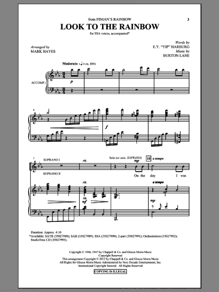 Look To The Rainbow sheet music for choir and piano (SSA) by Burton Lane, E.Y. Harburg and Mark Hayes. Score Image Preview.