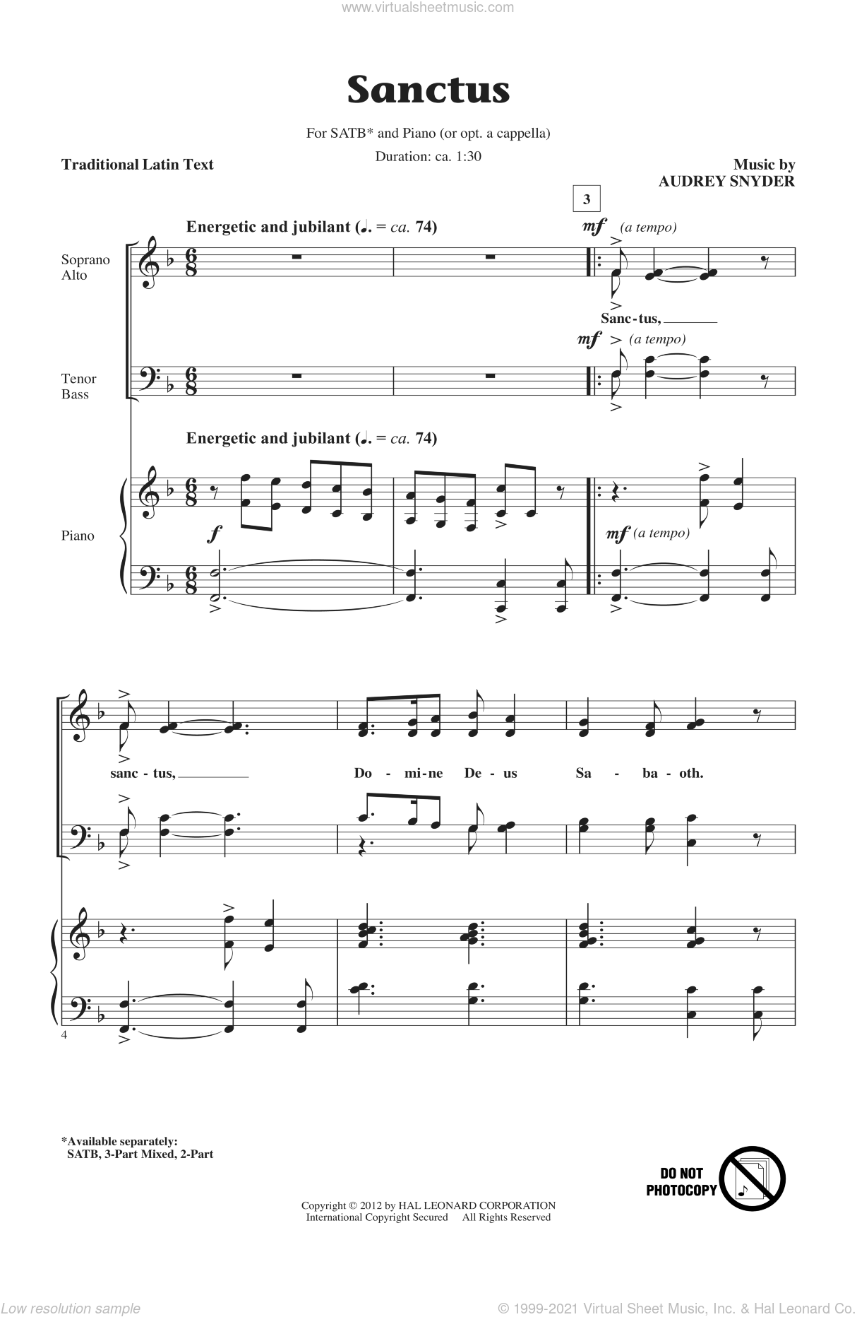 Sanctus sheet music for choir and piano (SATB) by Audrey Snyder