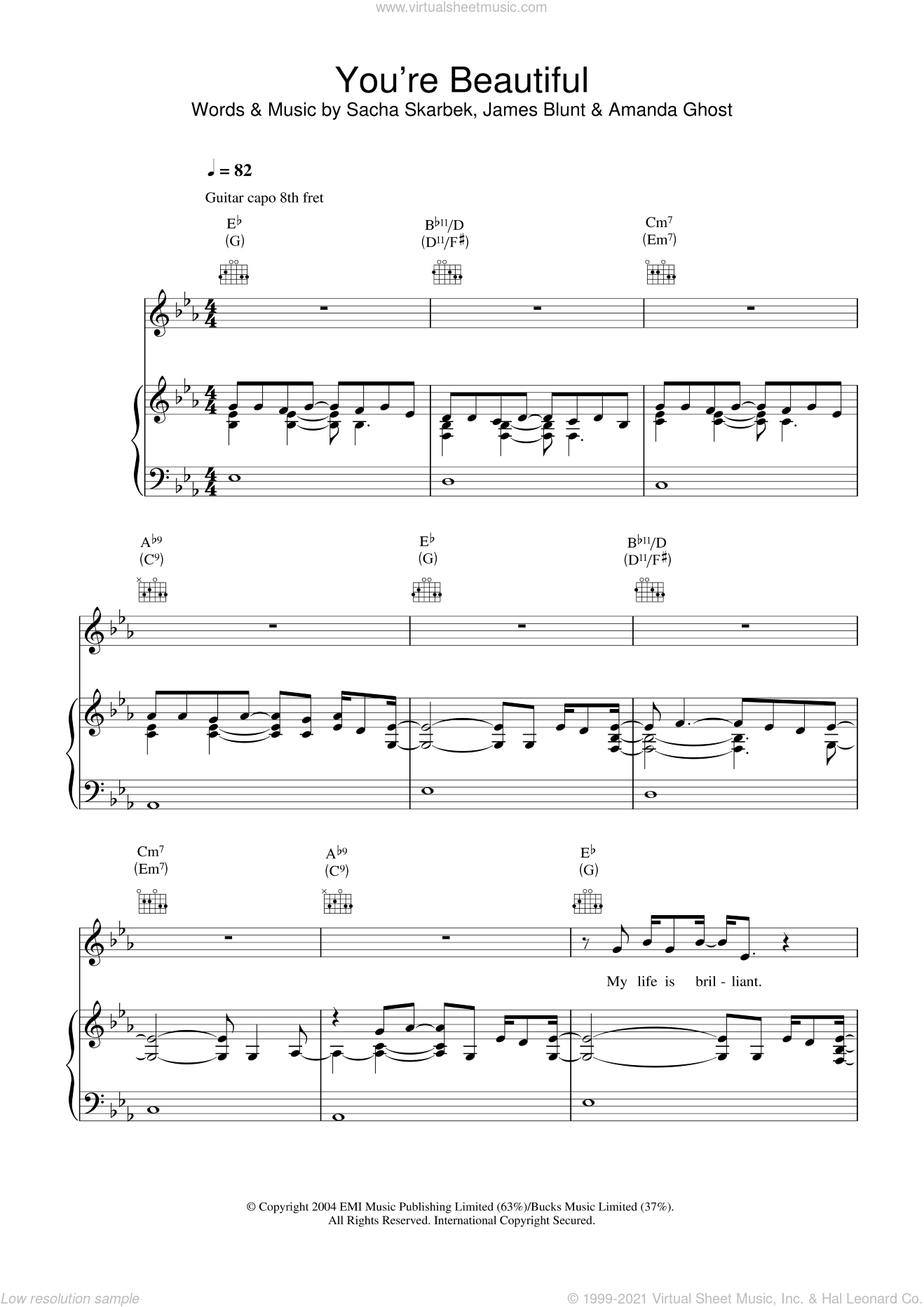 You're Beautiful sheet music for voice, piano or guitar by James Blunt, Amanda Ghost and Sacha Skarbek, intermediate. Score Image Preview.