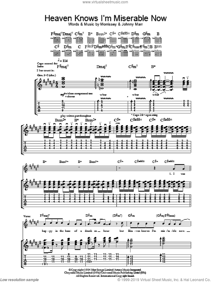 Heaven Knows I'm Miserable Now sheet music for guitar (tablature) by Steven Morrissey, The Smiths and Johnny Marr. Score Image Preview.