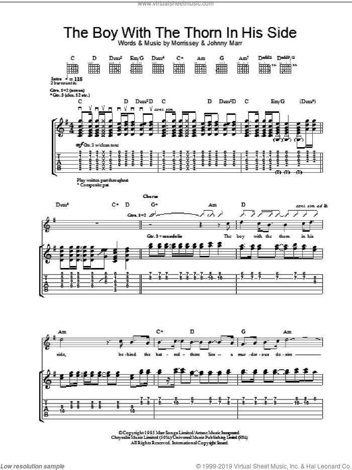 The Boy With The Thorn In His Side sheet music for guitar (tablature) by The Smiths, Johnny Marr and Steven Morrissey. Score Image Preview.