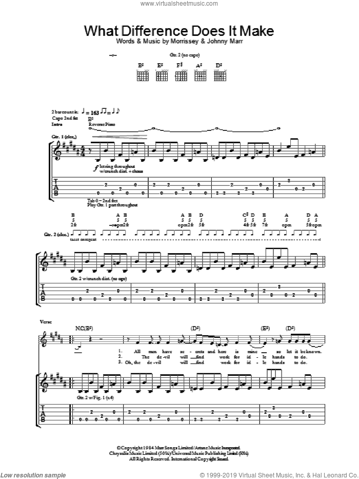 What Difference Does It Make? sheet music for guitar (tablature) by The Smiths, Johnny Marr and Steven Morrissey, intermediate. Score Image Preview.