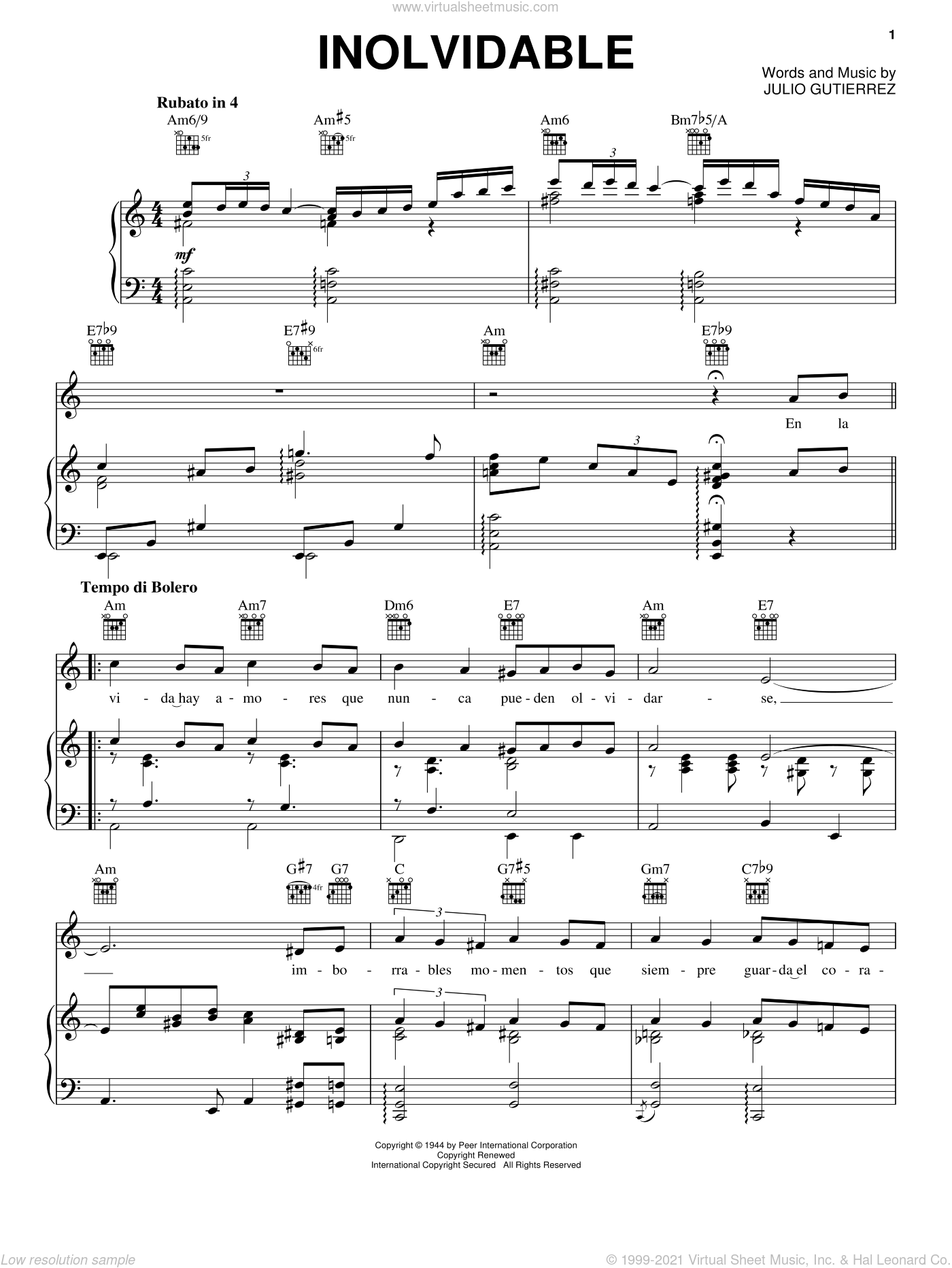 Inolvidable sheet music for voice, piano or guitar by Luis Miguel and Julio Gutierrez, wedding score, intermediate skill level