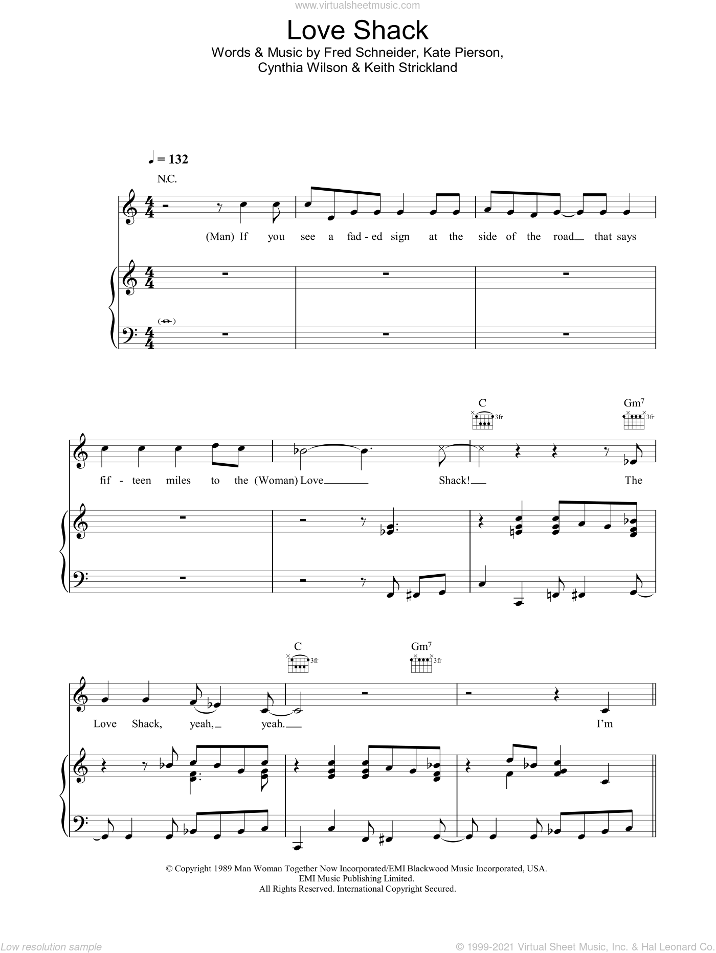 Love Shack sheet music for voice, piano or guitar by Keith Strickland and Catherine E. Pierson. Score Image Preview.
