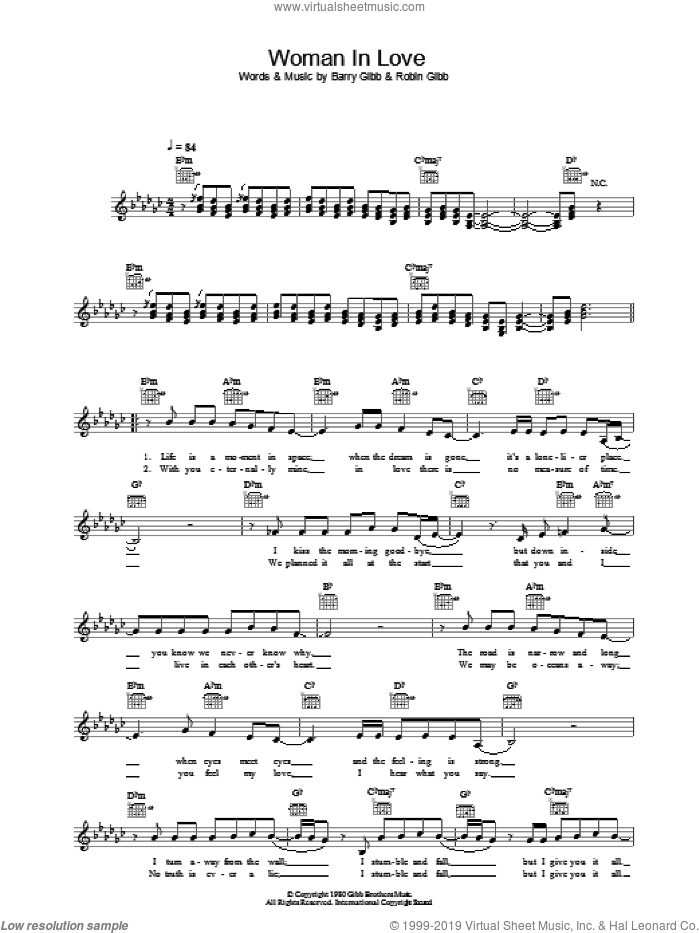 A Woman In Love sheet music for voice and other instruments (fake book) by Barbra Streisand, Barry Gibb and Robin Gibb, intermediate skill level