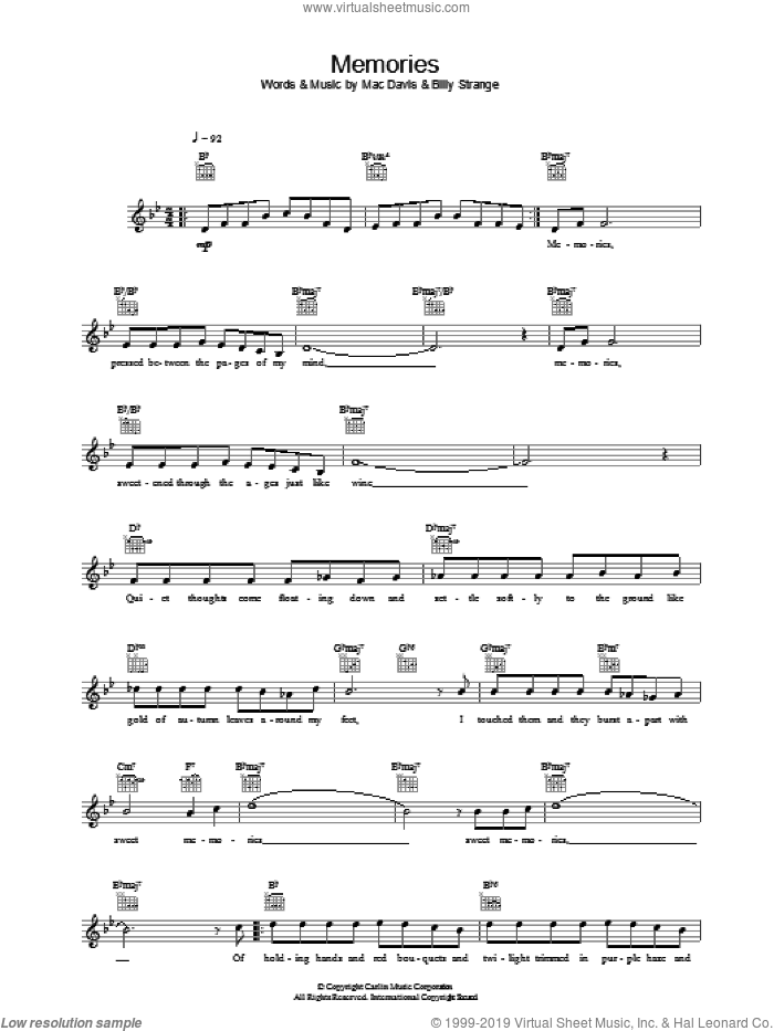 Memories sheet music for voice and other instruments (fake book) by Mac Davis, Elvis Presley and Billy Strange. Score Image Preview.