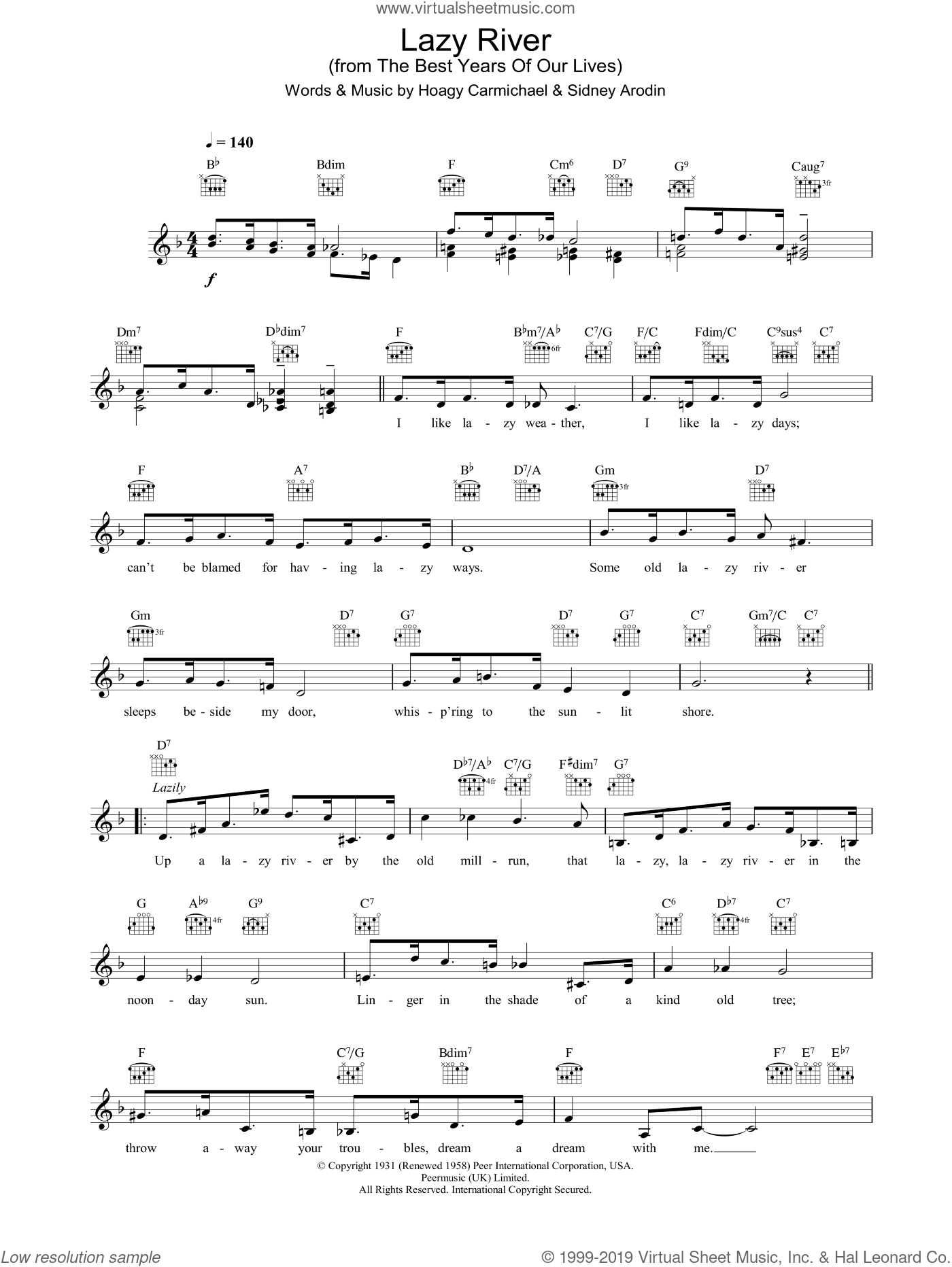 Lazy River sheet music for voice and other instruments (fake book) by Hoagy Carmichael and Sidney Arodin, intermediate skill level