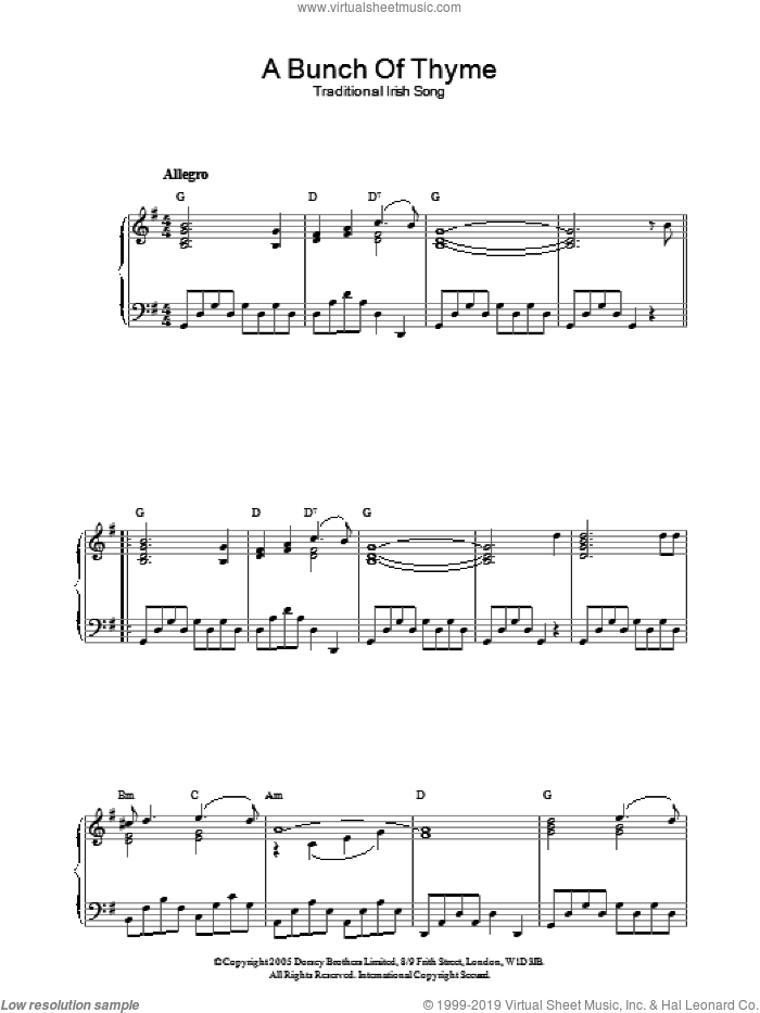 A Bunch Of Thyme sheet music for piano solo, intermediate skill level