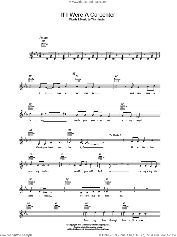 If I Were A Carpenter sheet music for voice and other instruments (fake book) by Bobby Darin