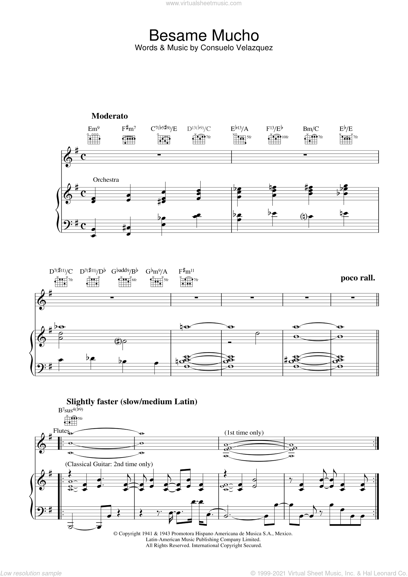 Besame Mucho sheet music for voice, piano or guitar by Sunny Skylar, Diana Krall and Consuelo Velazquez. Score Image Preview.