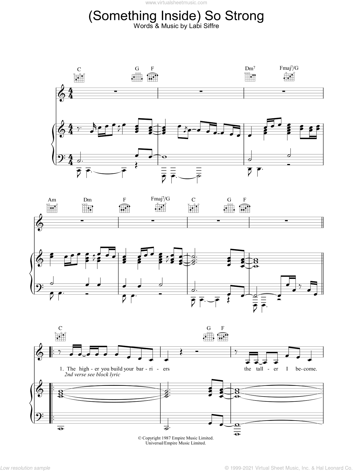 (Something Inside) So Strong sheet music for voice, piano or guitar by Labi Siffre, intermediate skill level