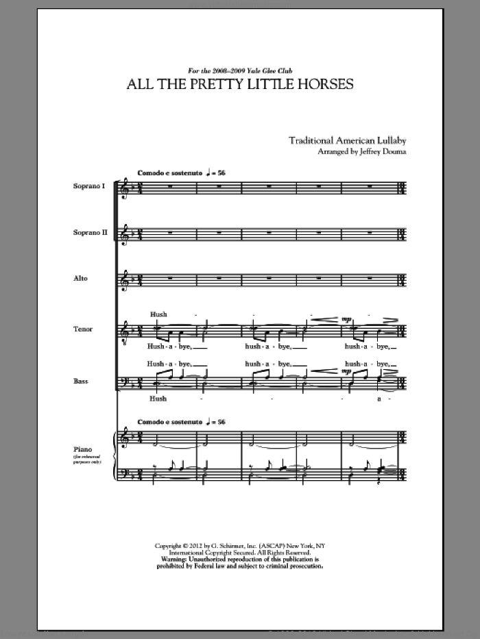 All The Pretty Little Horses sheet music for choir (SATB) by Jeffrey Douma. Score Image Preview.