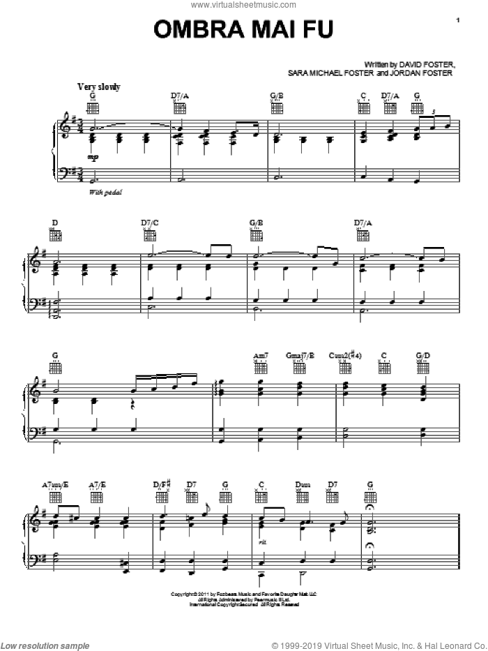 Ombra Mai Fu sheet music for voice, piano or guitar by Sara Michael Foster, Jackie Evancho and David Foster