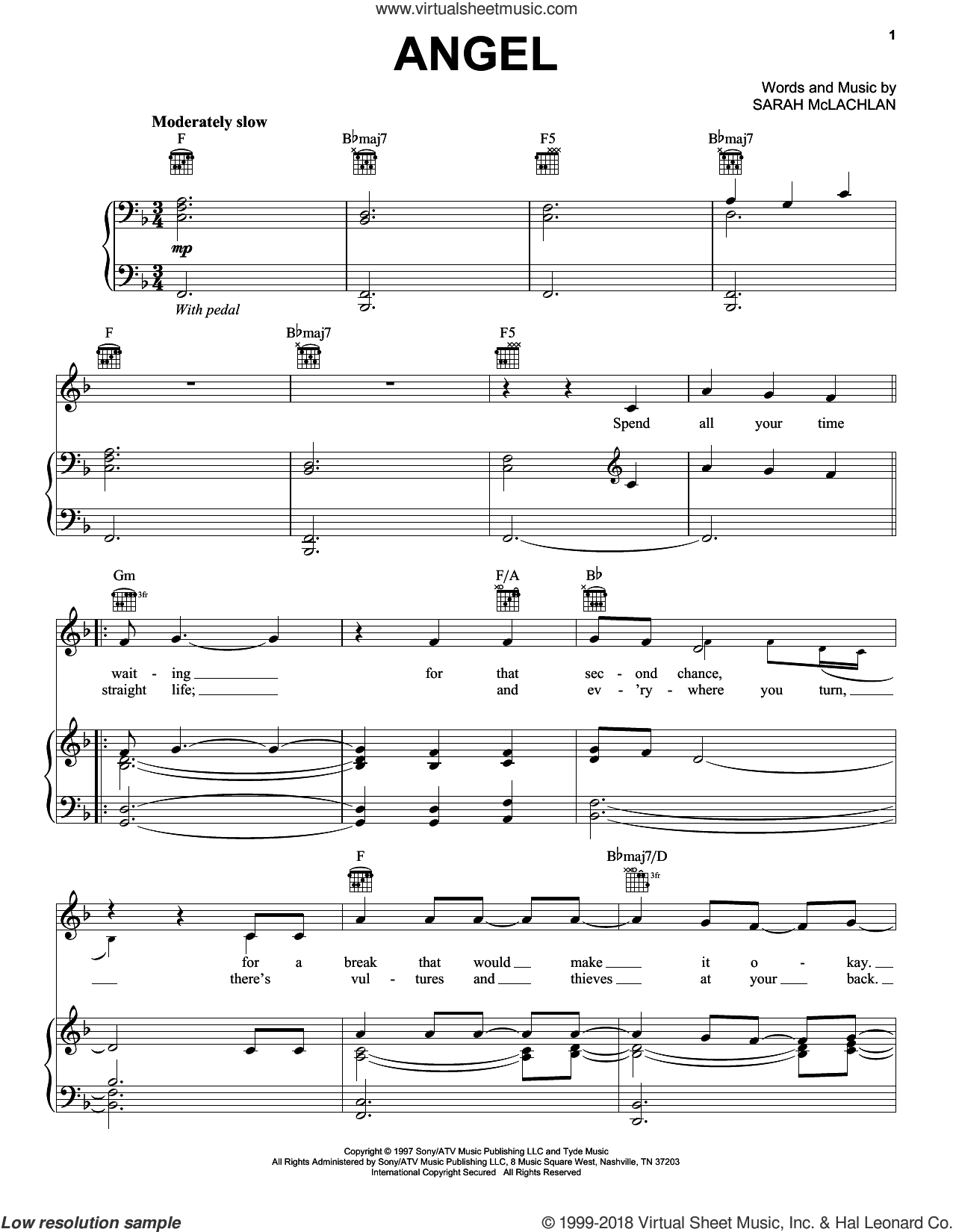 Angel sheet music for voice, piano or guitar by Jackie Evancho
