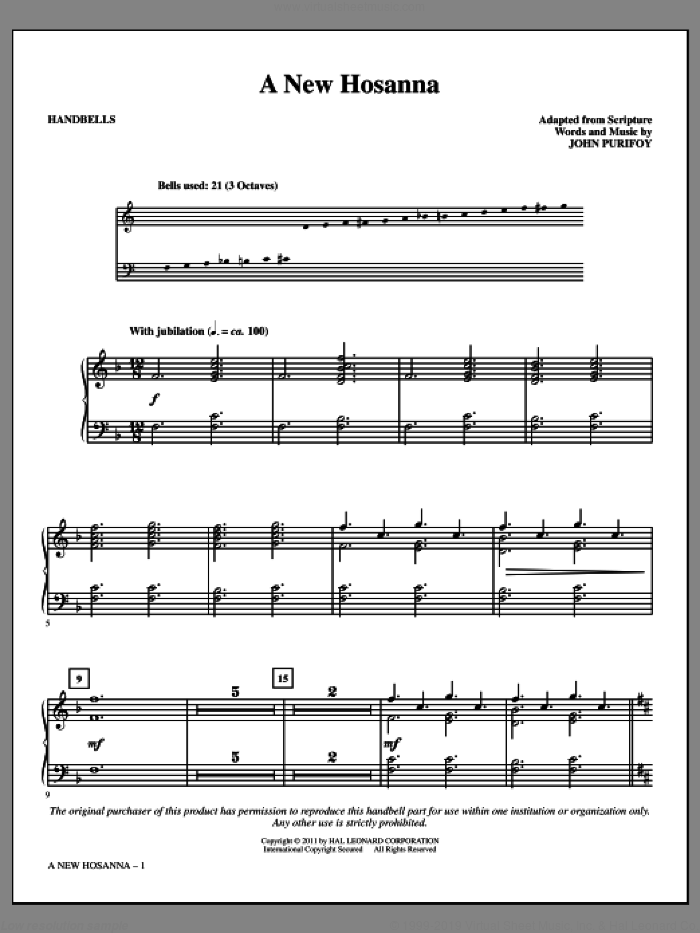 A New Hosanna sheet music for handbells by John Purifoy. Score Image Preview.