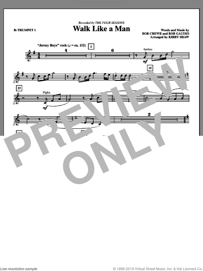 Walk Like A Man (complete set of parts) sheet music for orchestra/band by Bob Crewe, Bob Gaudio, Kirby Shaw and The Four Seasons, intermediate skill level
