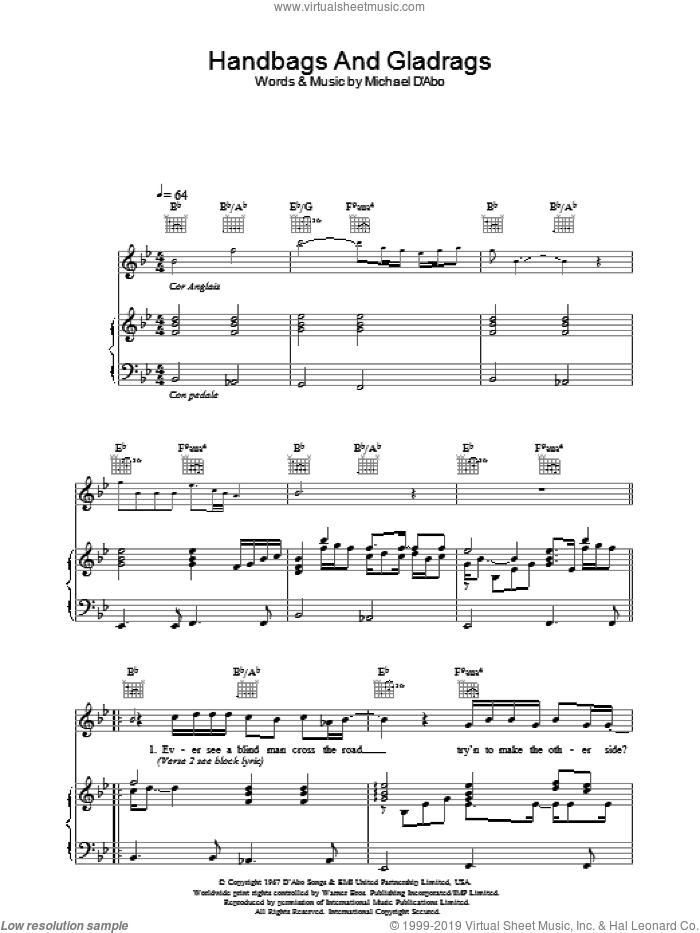 Handbags And Gladrags (theme from The Office) sheet music for voice, piano or guitar by Stereophonics, intermediate. Score Image Preview.
