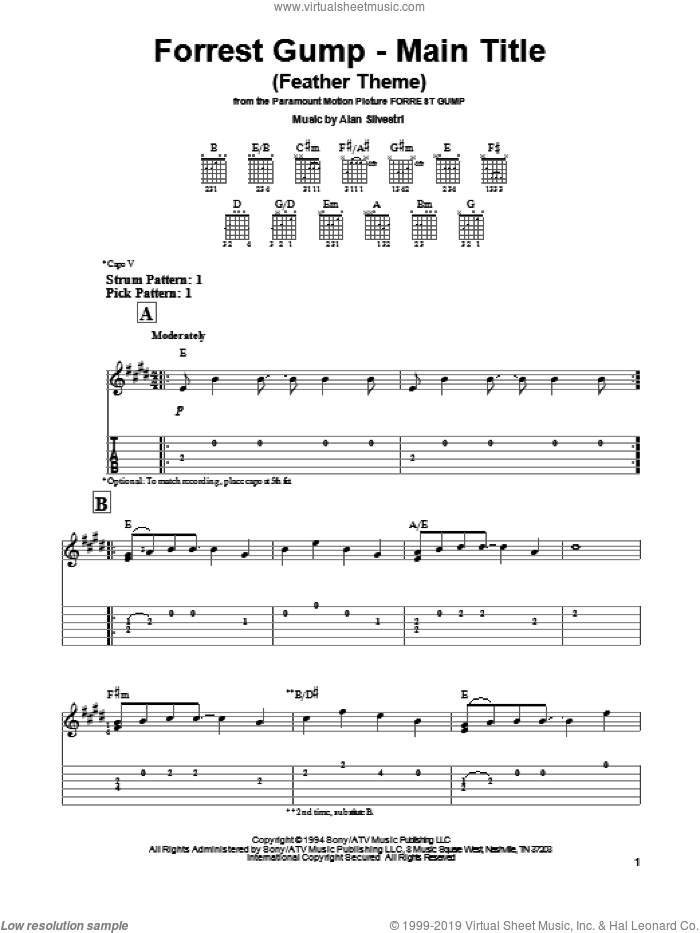 Forrest Gump - Main Title (Feather Theme) sheet music for guitar solo (easy tablature) by Alan Silvestri. Score Image Preview.