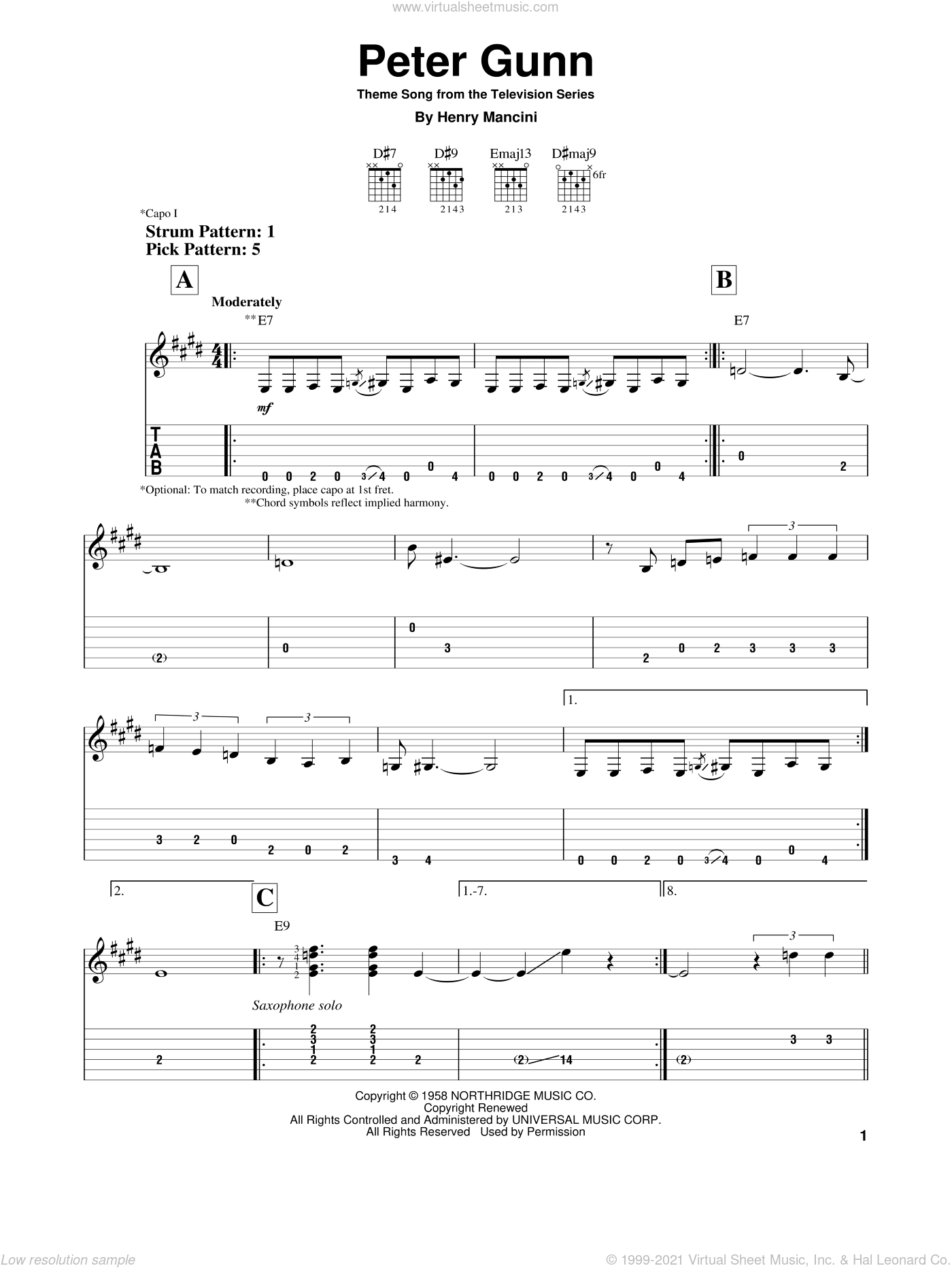 Peter Gunn Theme sheet music for guitar solo (easy tablature) by Henry Mancini, easy guitar (easy tablature)