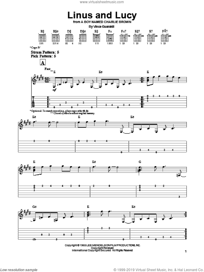 Linus And Lucy sheet music for guitar solo (easy tablature) by Vince Guaraldi. Score Image Preview.