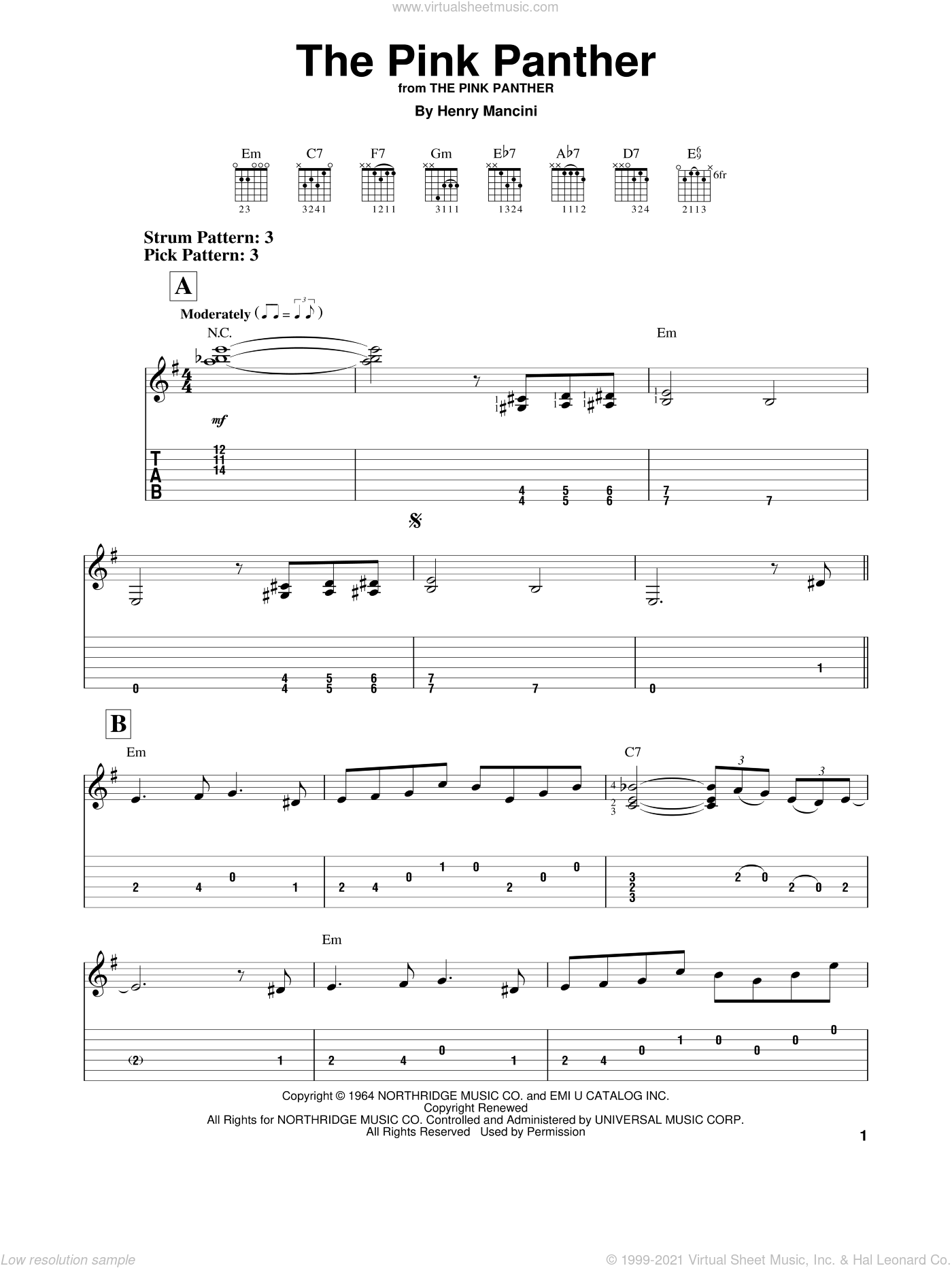 The Pink Panther sheet music for guitar solo (easy tablature) by Henry Mancini