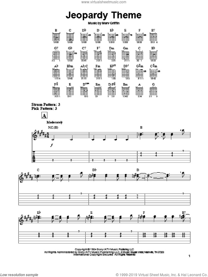 Jeopardy Theme sheet music for guitar solo (easy tablature) by Merv Griffin, easy guitar (easy tablature). Score Image Preview.