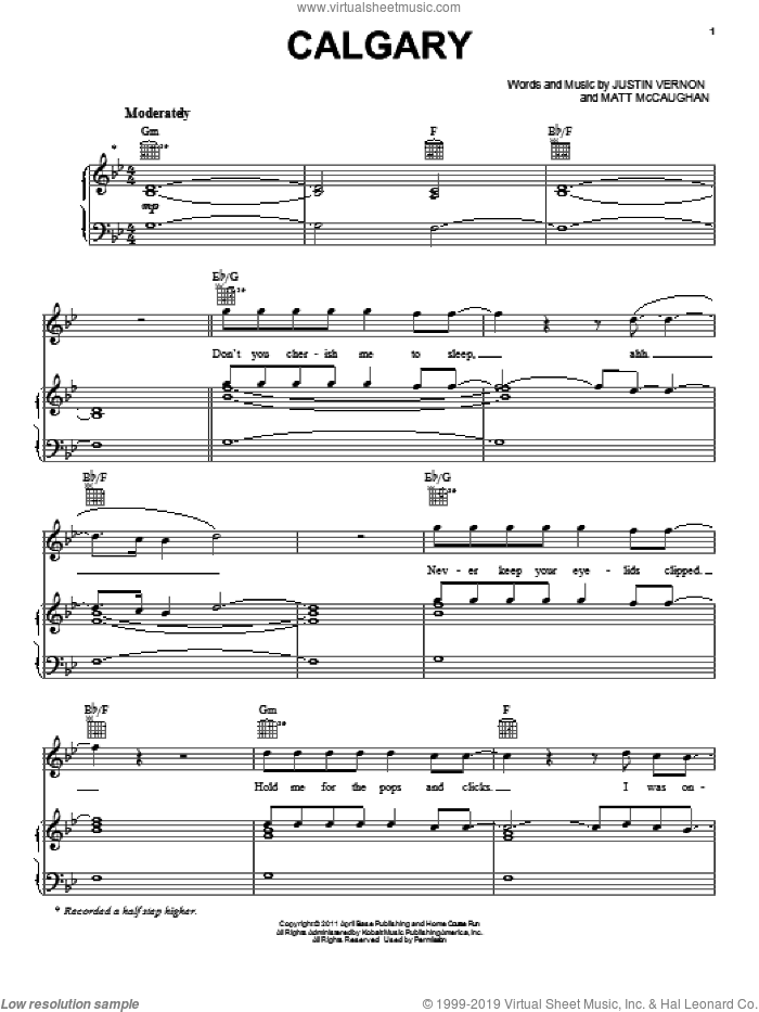 Calgary sheet music for voice, piano or guitar by Bon Iver, intermediate. Score Image Preview.