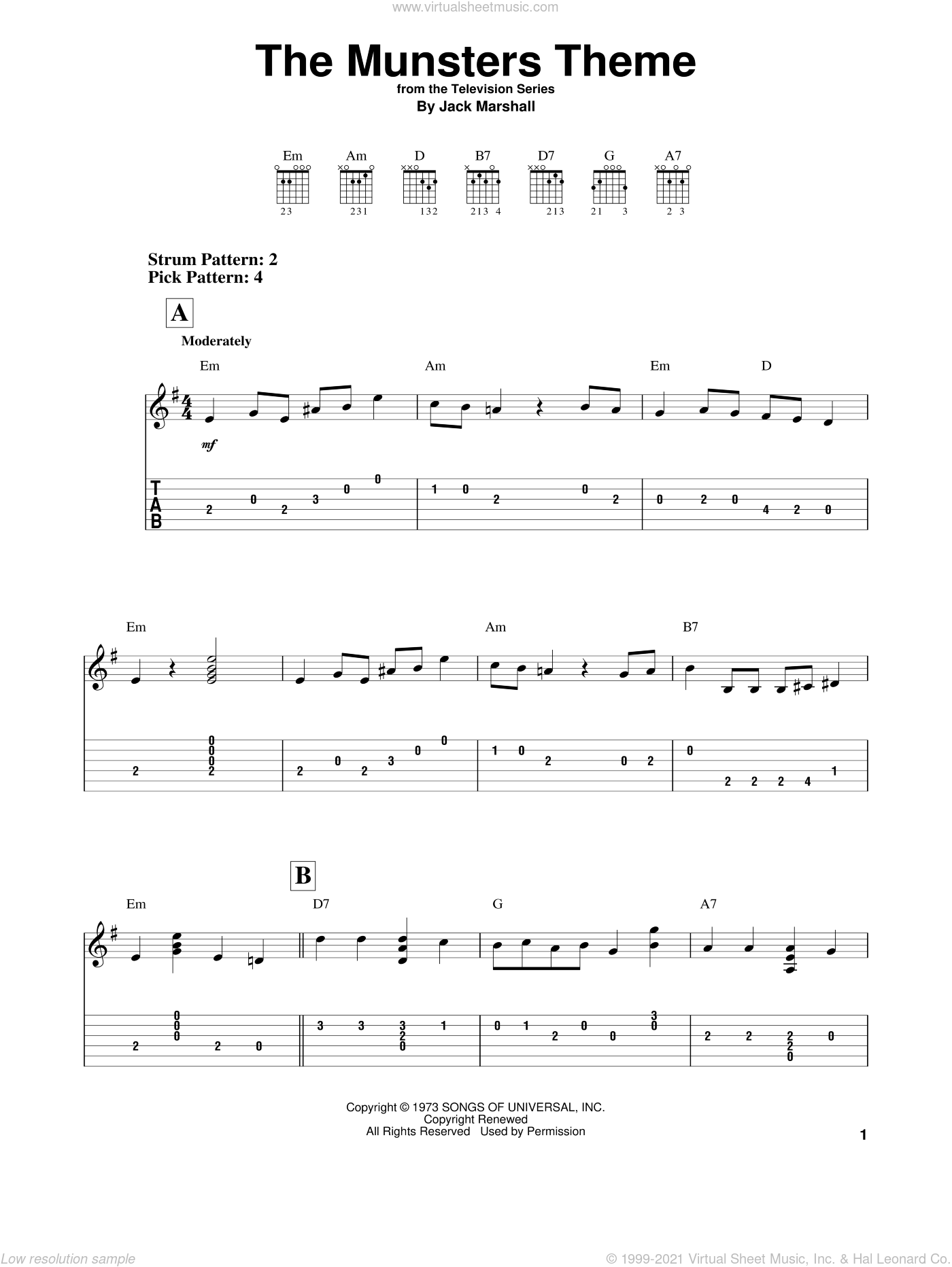 The Munsters Theme sheet music for guitar solo (easy tablature) by Jack Marshall. Score Image Preview.