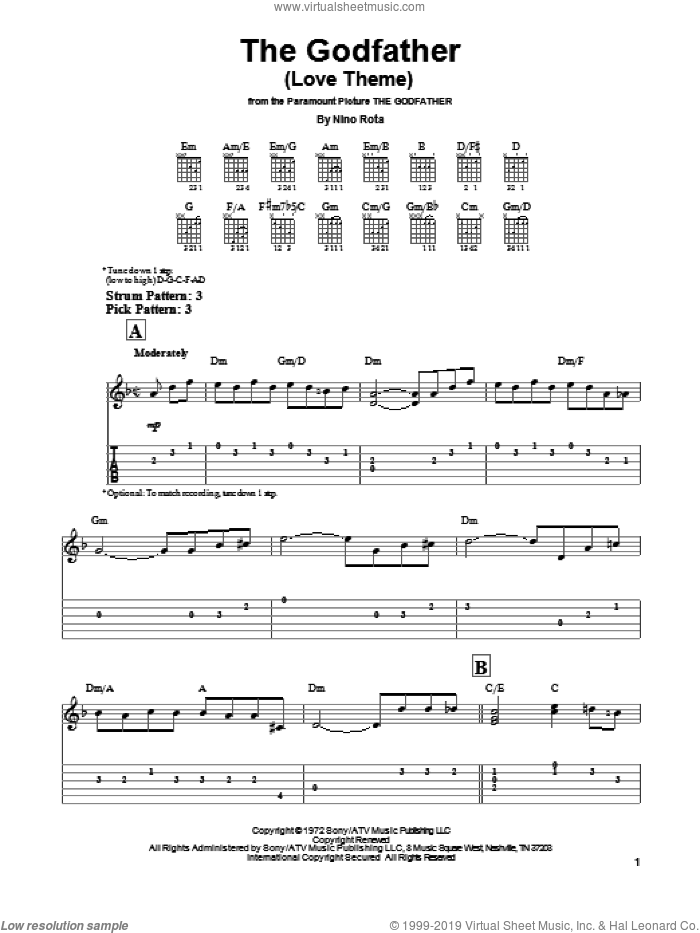 The Godfather (Love Theme) sheet music for guitar solo (easy tablature) by Nino Rota, easy guitar (easy tablature). Score Image Preview.