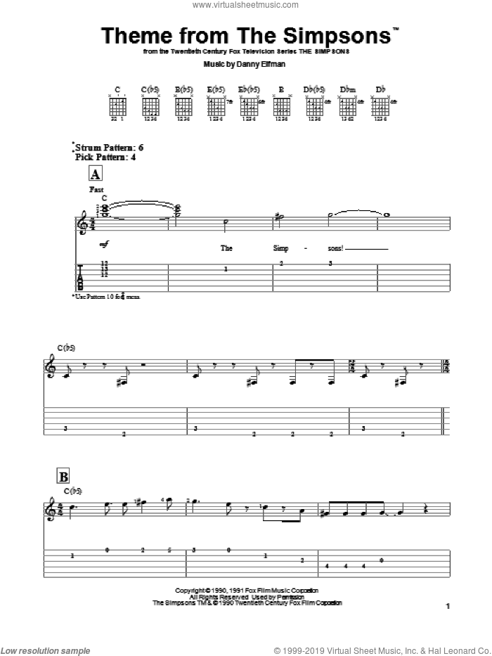 Theme From The Simpsons sheet music for guitar solo (easy tablature) by Danny Elfman. Score Image Preview.