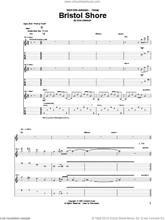 Bristol Shore sheet music for guitar (tablature) by Eric Johnson, intermediate guitar (tablature). Score Image Preview.