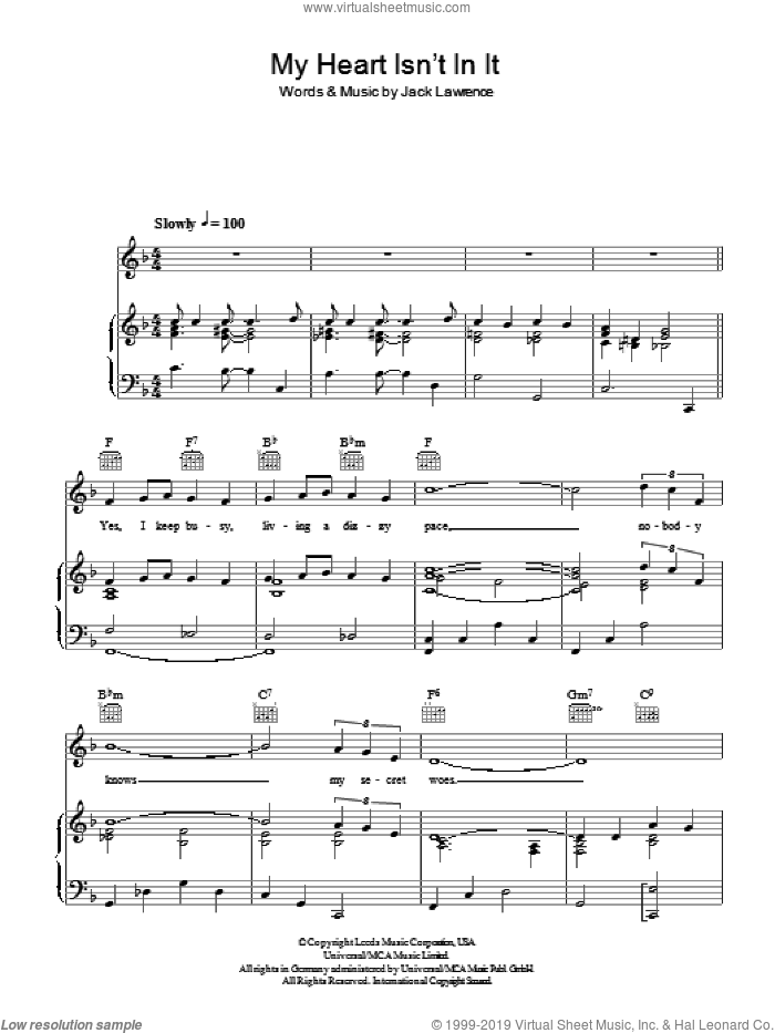 My Heart Isn't In It sheet music for voice, piano or guitar by Tony Pastor and Jack Lawrence, intermediate skill level