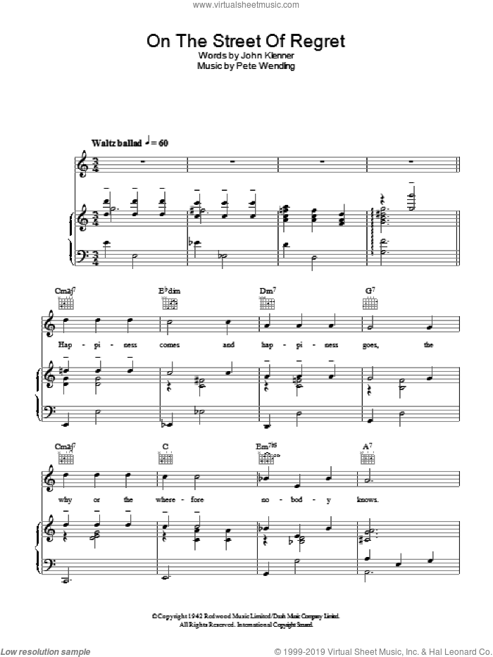 On The Street Of Regret sheet music for voice, piano or guitar by Dinah Washington, John Klenner and Pete Wendling, intermediate skill level