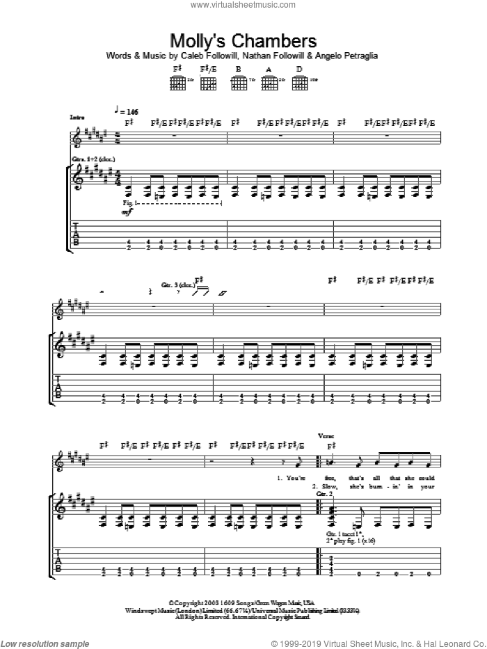 Molly's Chambers sheet music for guitar (tablature) by Nathan Followill