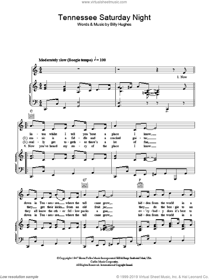 Tennessee Saturday Night sheet music for voice, piano or guitar by Billy Hughes
