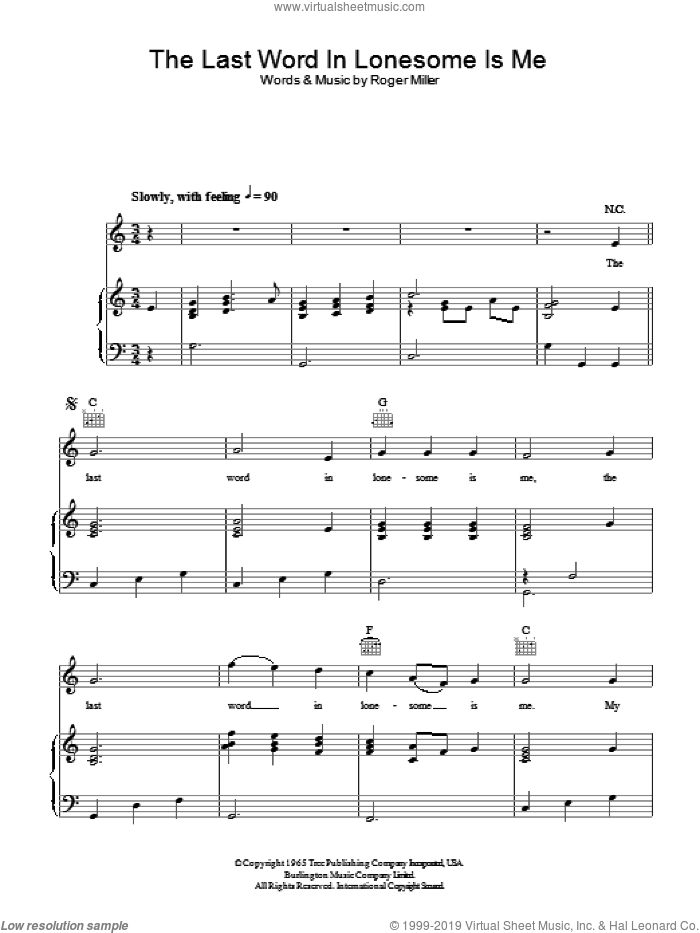 The Last Word In Lonesome Is Me sheet music for voice, piano or guitar by Roger Miller, intermediate. Score Image Preview.
