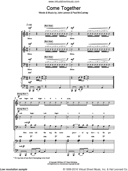Come Together sheet music for voice, piano or guitar (SAB) by Paul McCartney, The Beatles and John Lennon. Score Image Preview.