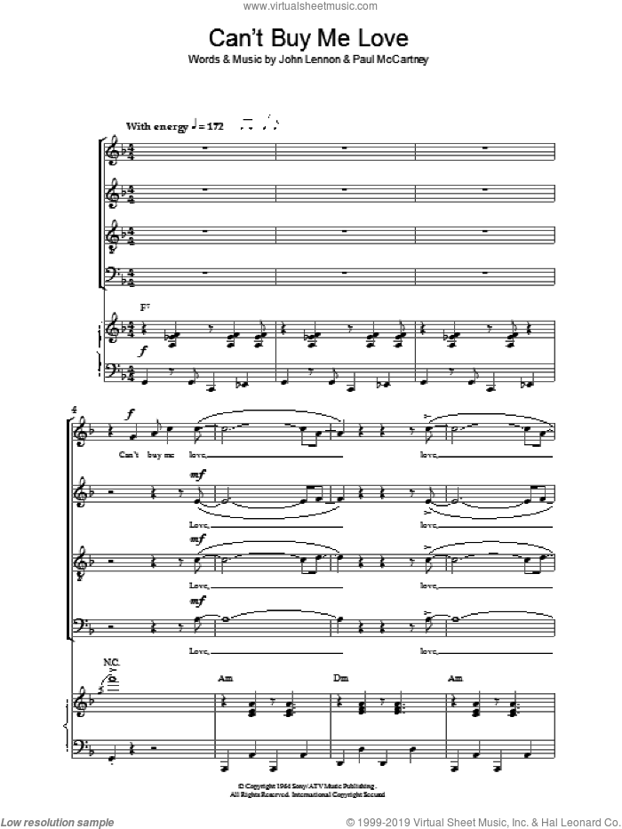 Can't Buy Me Love sheet music for choir (SATB: soprano, alto, tenor, bass) by The Beatles, John Lennon and Paul McCartney, intermediate skill level